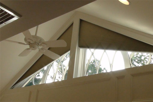 Angled Motorized Cellular Shade