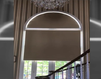 Blackout Arched Roller Shade and Tandard Roller Shade